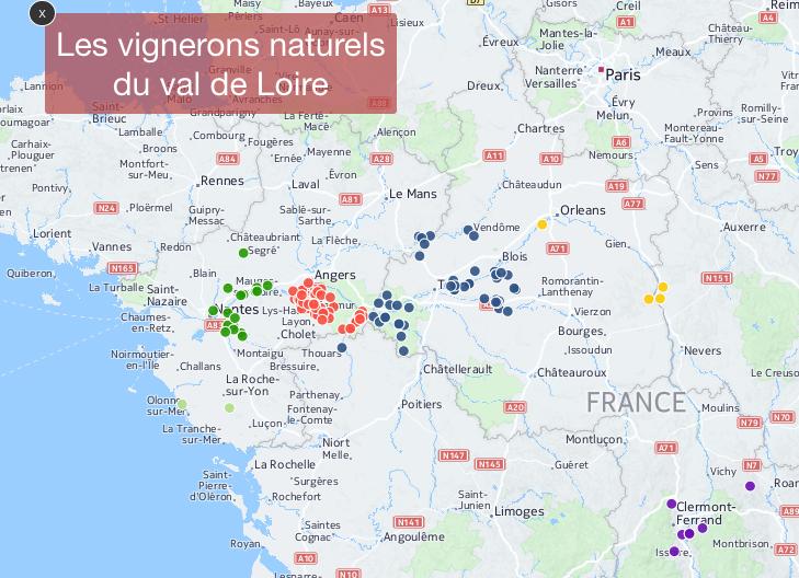 La carte des 150 vignerons naturels de Loire